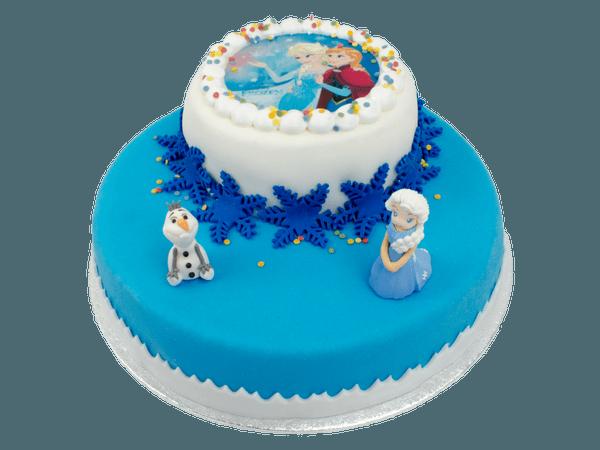 Frozen 3D taart met suikerfiguurtjes