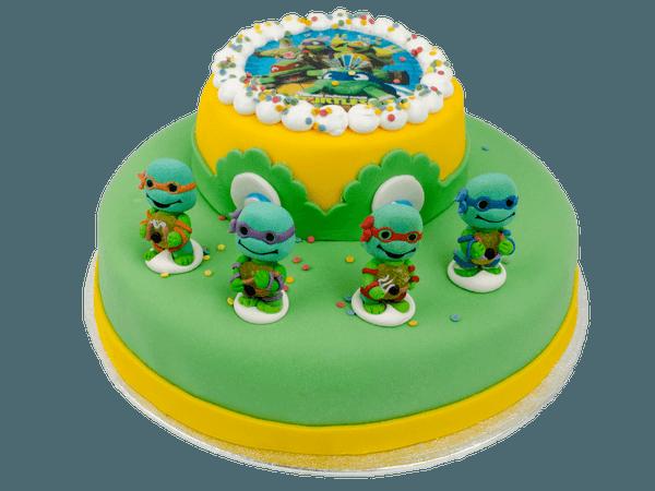 Ninja Turtles cake met suikerfiguurtjes