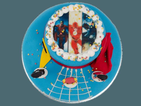 Superhelden 3D taart met afbeelding
