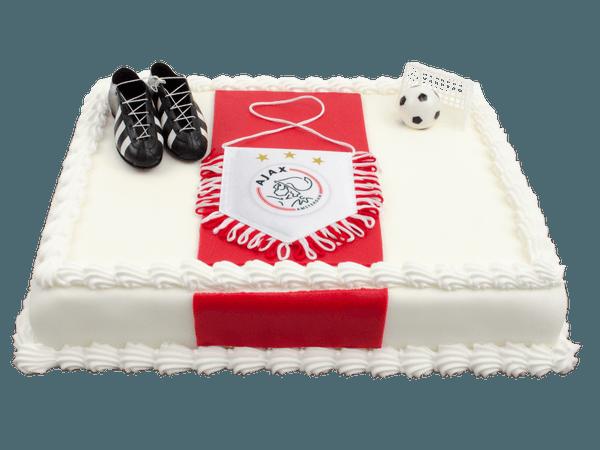Ajax taart met voetbalschoenen en doel