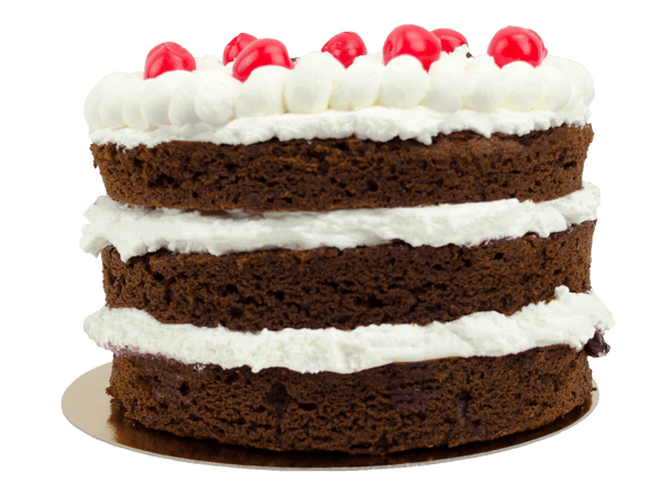 Chocolade taart met kersen bavaroise en verse kersen topping