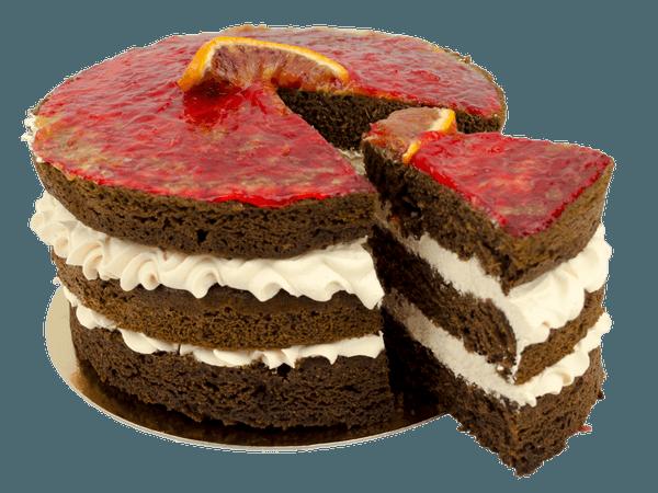 Chocolade taart met een laagje bloedsinaasappel bavaroise