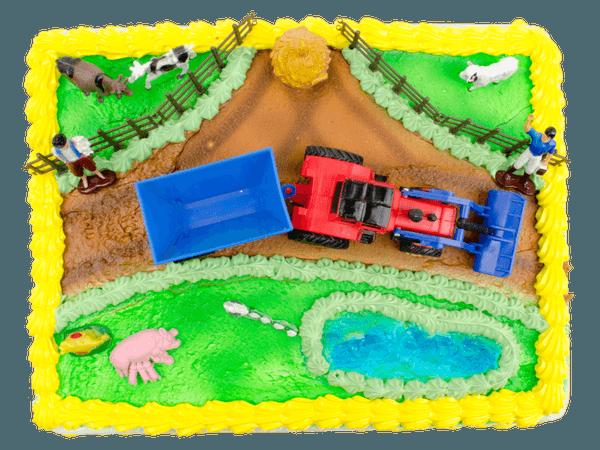 Tractor en dieren taart
