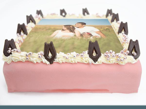 Chipolatataart met chocolaatje en en custom foto