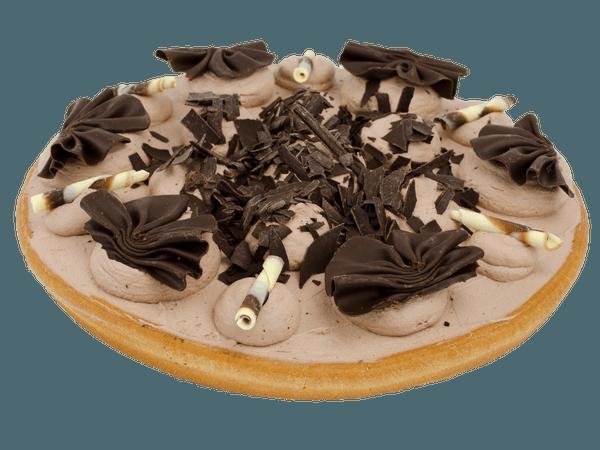 Chocoladevlaai met chocolade versiering