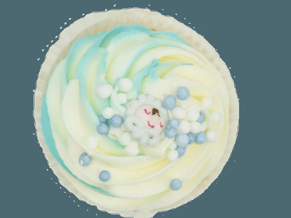 Lichtblauwe Cupcake met Muisjes