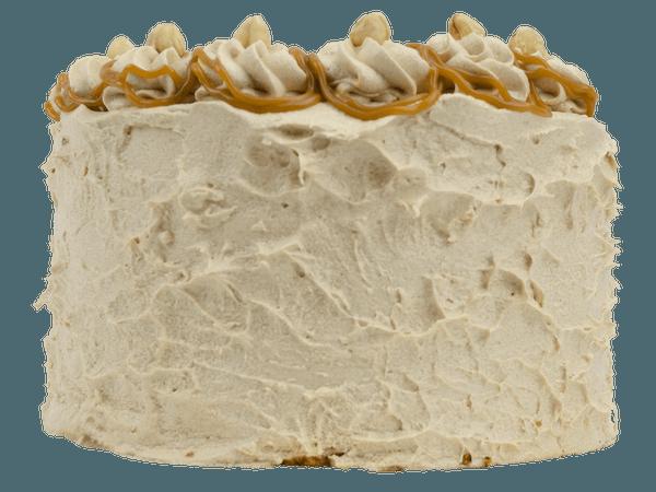Hazelnoot layercake met stukjes hazelnoot en caramel