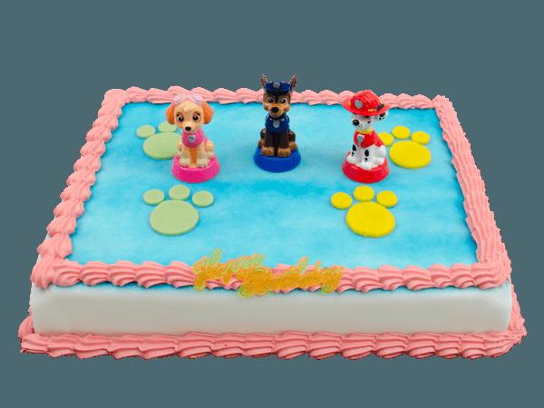 paw patrol taart met leuke plastic figuurtjes