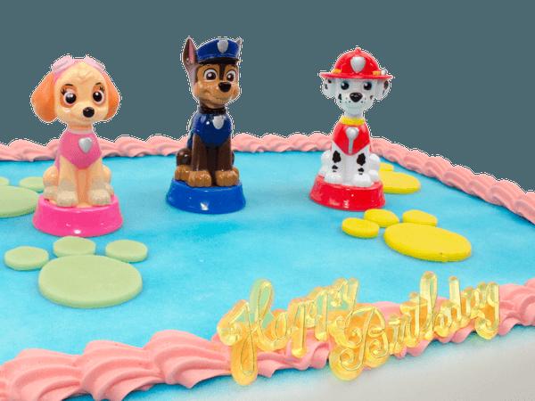 Marshall, Chase en Skye figuurtjes op een taart