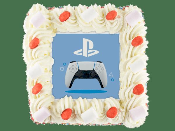 taart met playstation afbeelding en snoepjes