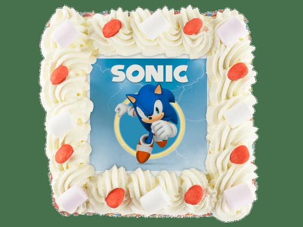 sonic afbeelding op kinder slagroomtaart