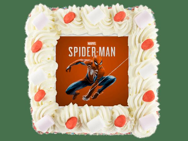 spiderman taart met snoepjes en gekleurde hagelslag