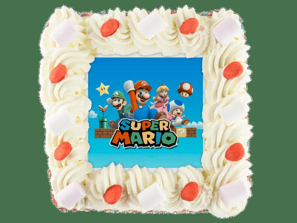 super mario slagroomtaart met snoepjes