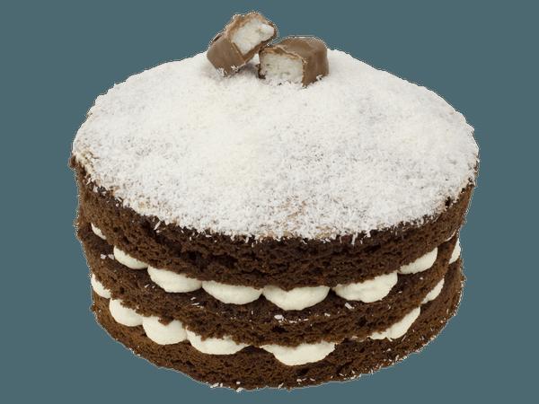 Tropical bounty cake met fijngesnipperde kokos
