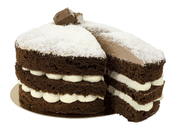 Tropical bounty layercake met chocola en kokos.