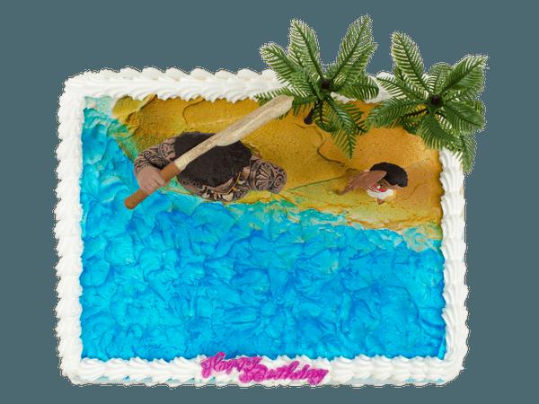 Kindertaart met figuurtjes van Maui en Vaiana