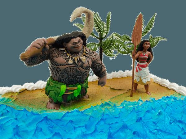 Maui en Vaiana op een kindertaart