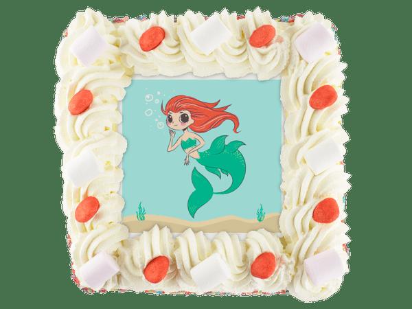 slagroomtaart met snoepjes en zeemeermin afbeelding